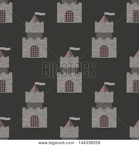 Brick Castle Seamless Pattern on Grey. Retro Tower Background.