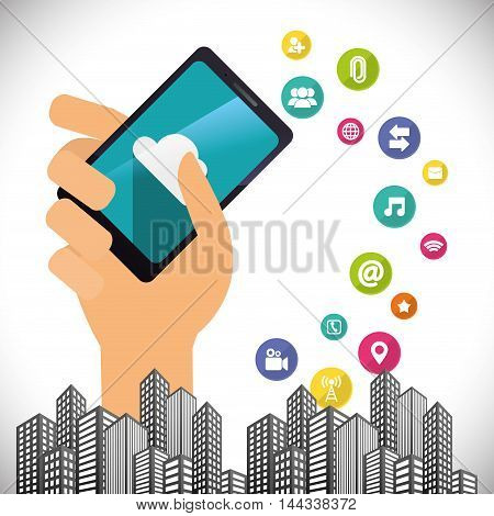 smartphone city hand mobile apps application online icon set. Colorful and flat design. Vector illustration
