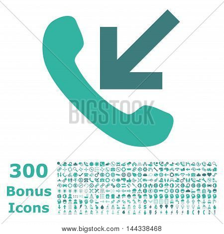 Incoming Call icon with 300 bonus icons. Vector illustration style is flat iconic bicolor symbols, cobalt and cyan colors, white background.
