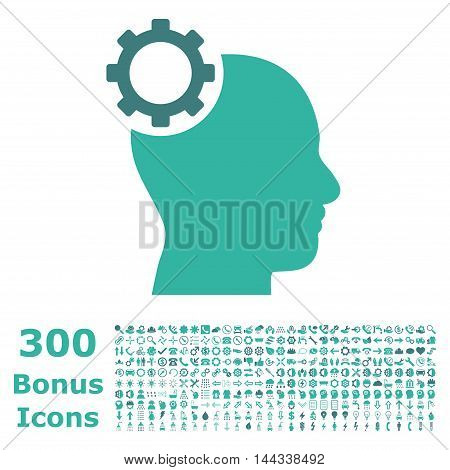 Intellect Gear icon with 300 bonus icons. Vector illustration style is flat iconic bicolor symbols, cobalt and cyan colors, white background.