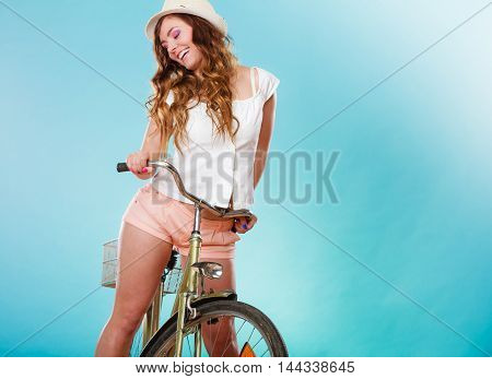 Active Woman Riding Bike Bicycle. Recreation.