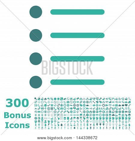 Items icon with 300 bonus icons. Vector illustration style is flat iconic bicolor symbols, cobalt and cyan colors, white background.