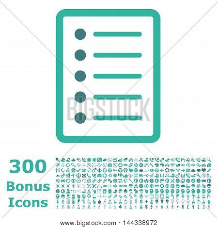 List Page icon with 300 bonus icons. Vector illustration style is flat iconic bicolor symbols, cobalt and cyan colors, white background.
