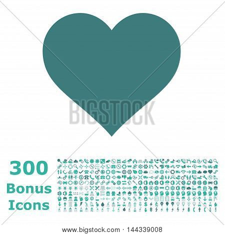 Love Heart icon with 300 bonus icons. Vector illustration style is flat iconic bicolor symbols, cobalt and cyan colors, white background.