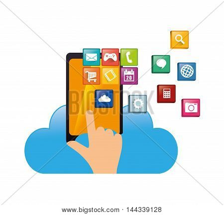 smartphone cloud hand mobile apps application online icon set. Colorful and flat design. Vector illustration