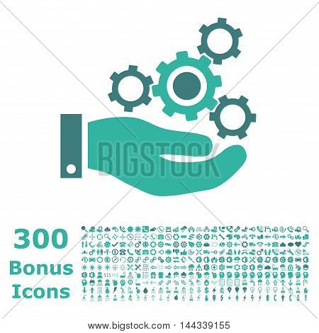 Mechanics Service icon with 300 bonus icons. Vector illustration style is flat iconic bicolor symbols, cobalt and cyan colors, white background.