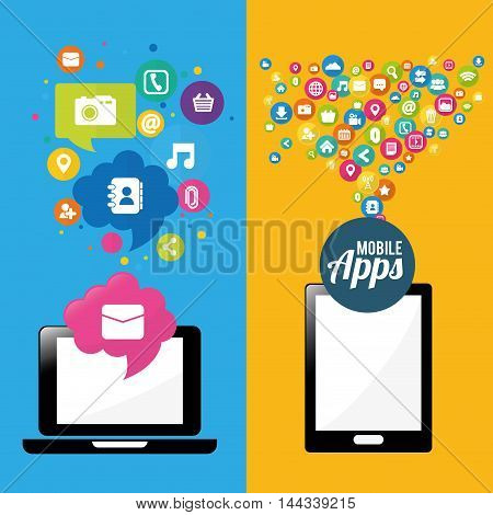 smartphone laptop mobile apps application online icon set. Colorful and flat design. Vector illustration