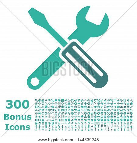 Options icon with 300 bonus icons. Vector illustration style is flat iconic bicolor symbols, cobalt and cyan colors, white background.