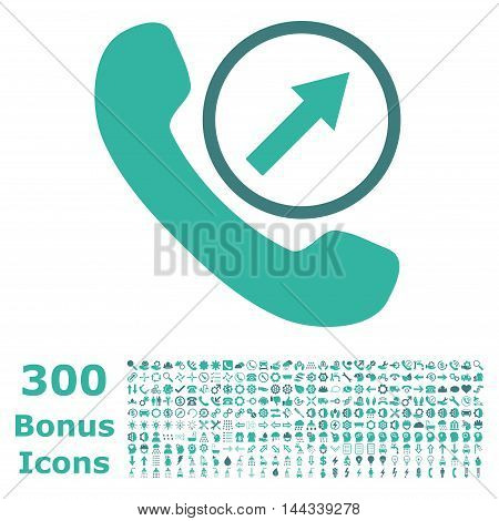 Outgoing Call icon with 300 bonus icons. Vector illustration style is flat iconic bicolor symbols, cobalt and cyan colors, white background.