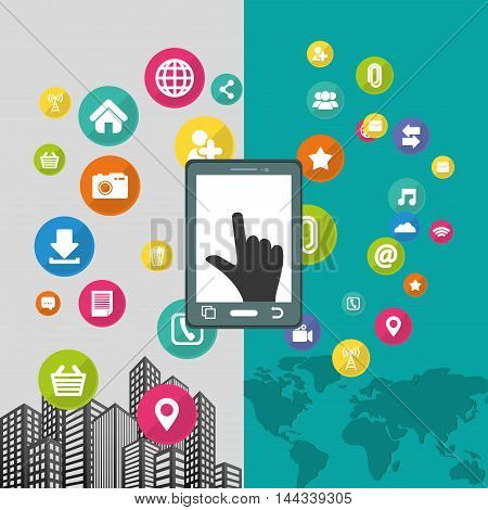 smartphone cursor map city mobile apps application online icon set. Colorful and flat design. Vector illustration