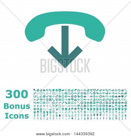Phone Hang Up icon with 300 bonus icons. Vector illustration style is flat iconic bicolor symbols, cobalt and cyan colors, white background.