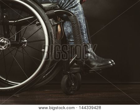 Legs Of Disabled Person.