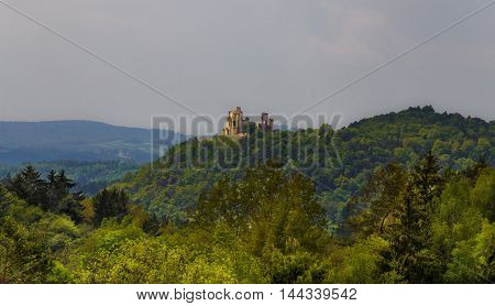 Nice view of the distant castle ruins in Boskovice.