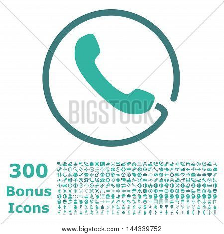 Phone icon with 300 bonus icons. Vector illustration style is flat iconic bicolor symbols, cobalt and cyan colors, white background.