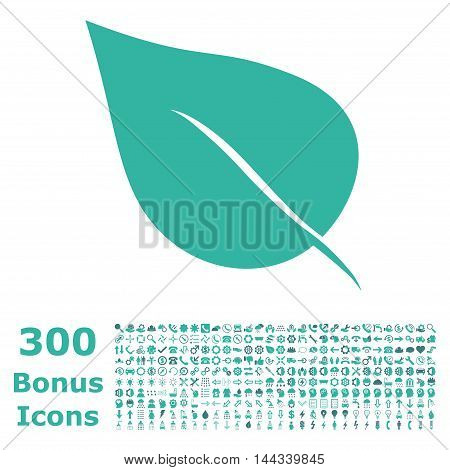 Plant Leaf icon with 300 bonus icons. Vector illustration style is flat iconic bicolor symbols, cobalt and cyan colors, white background.