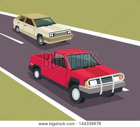 Auto garage car automobile retro cartoon icon. Colorful design. Street background. Vector illustration