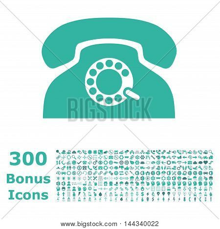 Pulse Phone icon with 300 bonus icons. Vector illustration style is flat iconic bicolor symbols, cobalt and cyan colors, white background.