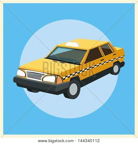 taxi auto car automobile retro cartoon icon. Colorful design. Vector illustration