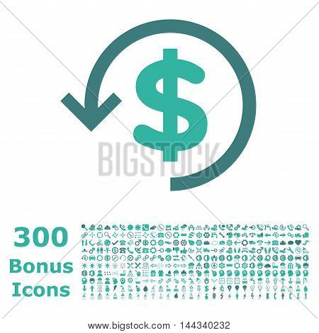 Refund icon with 300 bonus icons. Vector illustration style is flat iconic bicolor symbols, cobalt and cyan colors, white background.