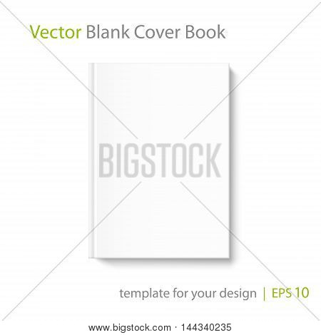 Mock up book cover on white background. Vector template for your design.