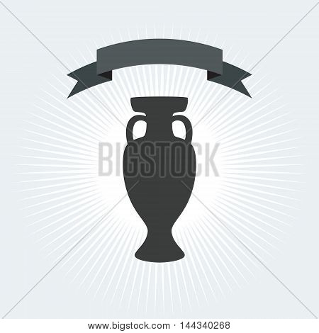 Championship soccer trophy cup, winner cup icon. Football trophy cup with shadow. Trophy cup icon, Award icon, Trophy banner, flat design, Win icon, Prize icon Sport Vector illustration. For Art, Print, Web design