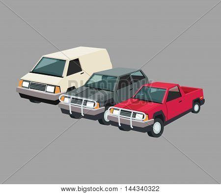 Auto garage car automobile retro cartoon icon set. Colorful design. Vector illustration