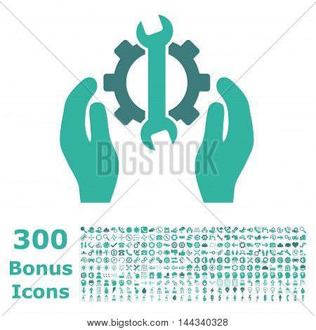 Repair Service icon with 300 bonus icons. Vector illustration style is flat iconic bicolor symbols, cobalt and cyan colors, white background.