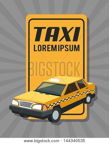 taxi auto car automobile retro cartoon icon. Colorful design. Striped background. Vector illustration