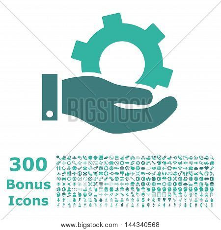 Service icon with 300 bonus icons. Vector illustration style is flat iconic bicolor symbols, cobalt and cyan colors, white background.