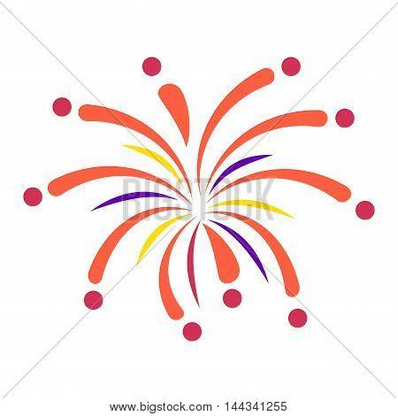 Festive firework bursting shape firework pictogram isolated.