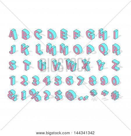 Isometric alphabet typography text and isometric alphabet perspective letter art.