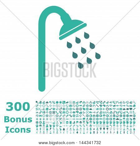 Shower icon with 300 bonus icons. Vector illustration style is flat iconic bicolor symbols, cobalt and cyan colors, white background.