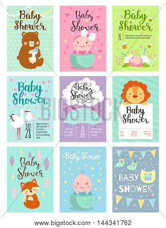Baby shower designs with cute woodland animals