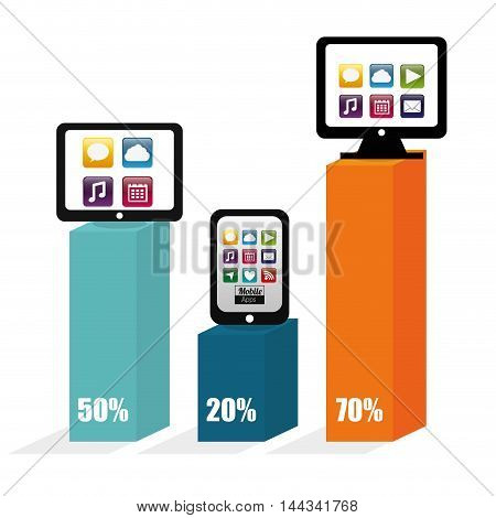 smartphone tablet computer infographic mobile apps application online icon set. Colorful and flat design. Vector illustration