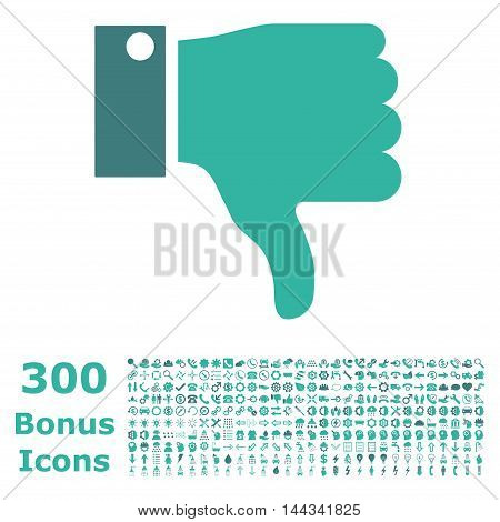 Thumb Down icon with 300 bonus icons. Vector illustration style is flat iconic bicolor symbols, cobalt and cyan colors, white background.
