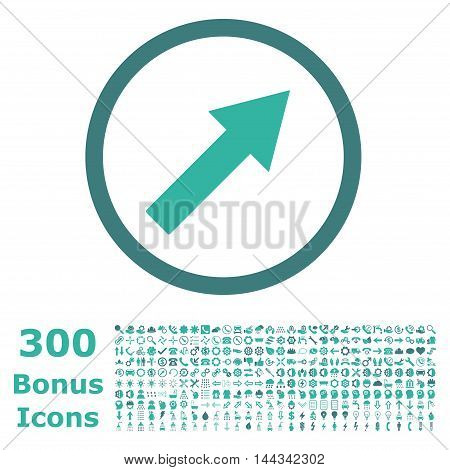 Up-Right Rounded Arrow icon with 300 bonus icons. Vector illustration style is flat iconic bicolor symbols, cobalt and cyan colors, white background.