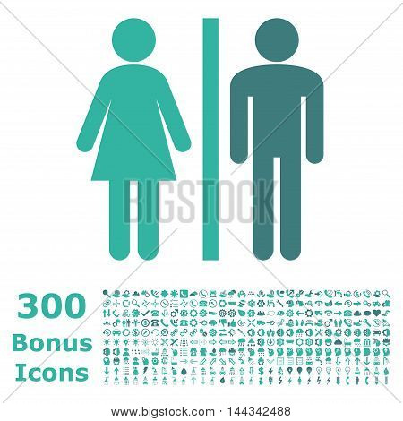 WC Persons icon with 300 bonus icons. Vector illustration style is flat iconic bicolor symbols, cobalt and cyan colors, white background.