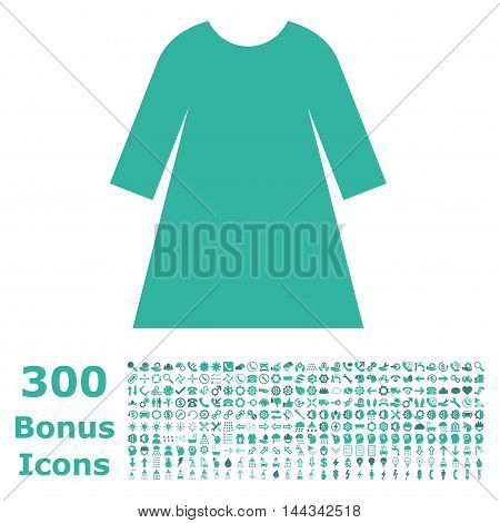 Woman Dress icon with 300 bonus icons. Vector illustration style is flat iconic bicolor symbols, cobalt and cyan colors, white background.