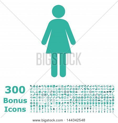Woman icon with 300 bonus icons. Vector illustration style is flat iconic bicolor symbols, cobalt and cyan colors, white background.