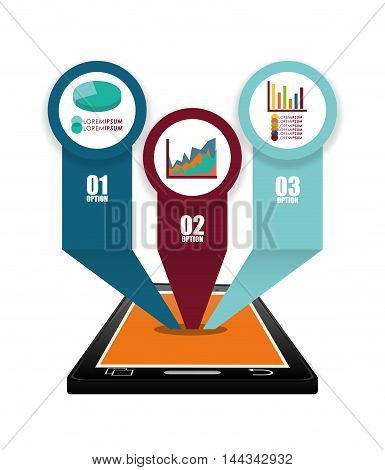 smartphone infographic mobile apps application online icon set. Colorful and flat design. Vector illustration
