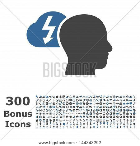Brainstorming icon with 300 bonus icons. Vector illustration style is flat iconic bicolor symbols, cobalt and gray colors, white background.