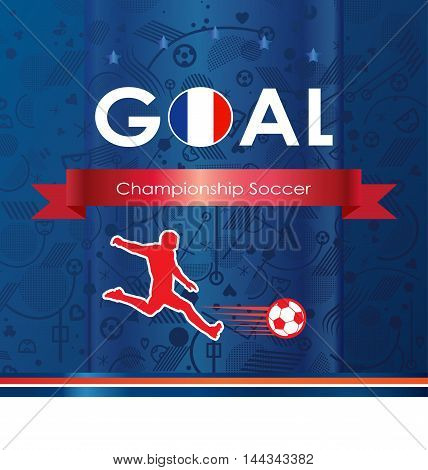 Soccer Goal winner France. Soccer goal icon. Champion Football Goal Player. Soccer ball logo. 2016 Championship soccer win. Abstract winner soccer. Football winner. Vector banner Europe 2016 champion