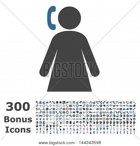 Calling Woman icon with 300 bonus icons. Vector illustration style is flat iconic bicolor symbols, cobalt and gray colors, white background.