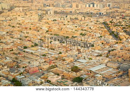 RIYADH - August 22: Aerial view of Riyadh downtown on August 22, 2016 in Riyadh, Saudi Arabia.