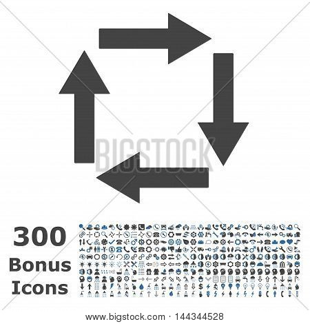 Circulation Arrows icon with 300 bonus icons. Vector illustration style is flat iconic bicolor symbols, cobalt and gray colors, white background.