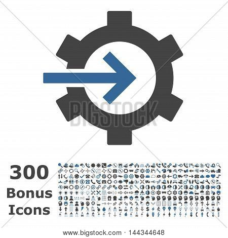 Cog Integration icon with 300 bonus icons. Vector illustration style is flat iconic bicolor symbols, cobalt and gray colors, white background.