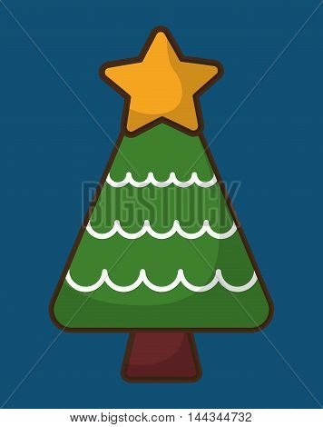 pine tree star merry christmas decoration celebration con. Colorful and flat design. Vector illustration