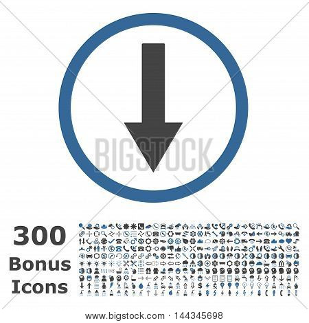 Down Rounded Arrow icon with 300 bonus icons. Vector illustration style is flat iconic bicolor symbols, cobalt and gray colors, white background.