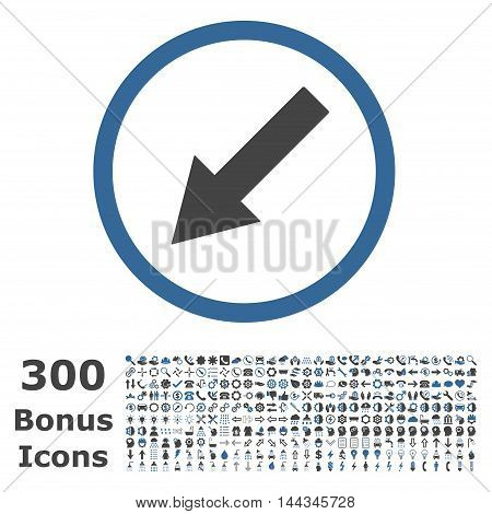 Down-Left Rounded Arrow icon with 300 bonus icons. Vector illustration style is flat iconic bicolor symbols, cobalt and gray colors, white background.