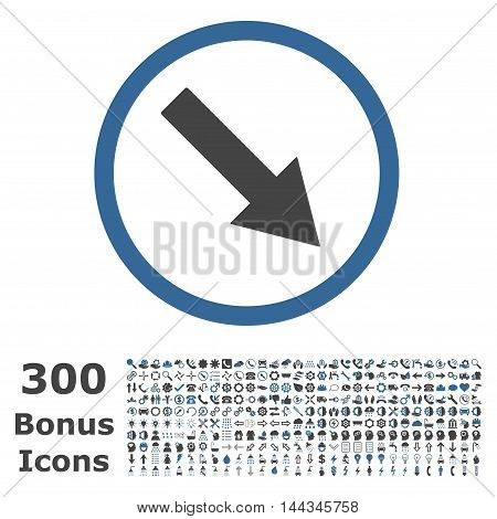 Down-Right Rounded Arrow icon with 300 bonus icons. Vector illustration style is flat iconic bicolor symbols, cobalt and gray colors, white background.